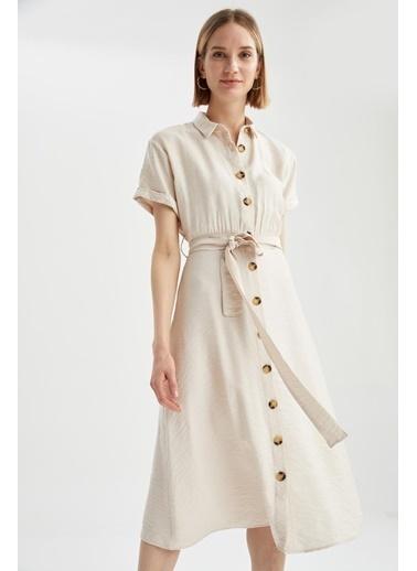 DeFacto Gömlek Yaka Midi Elbise Bej